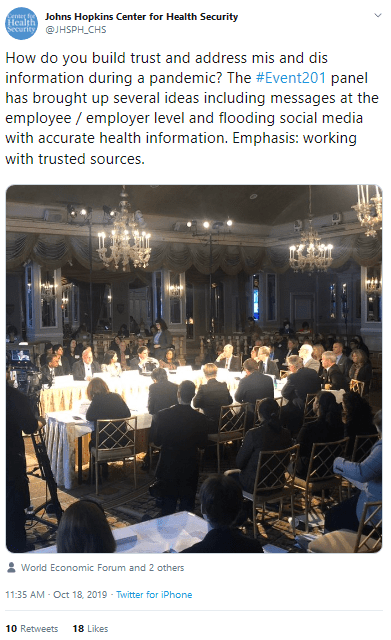 "October 18, 2019: Johns Hopkins Center For Health Security ""tweet"" with World Economic and Gates Health"