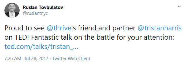July 28, 2017, Ruslan Tovbulatov citing Thrive partnership with Harris.