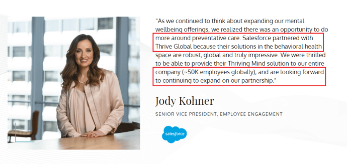 Salesforce partnership with Thrive Global.