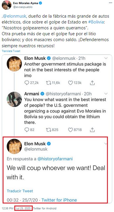"Musk on Twitter, July 25, 2020: """"We will coup whoever we want! Deal with it."""