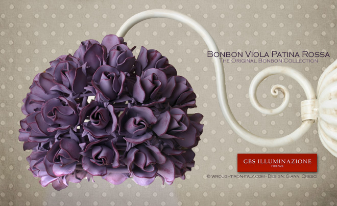 Applique Bonbon Viola Patina Rossa  GBS Illuminazione