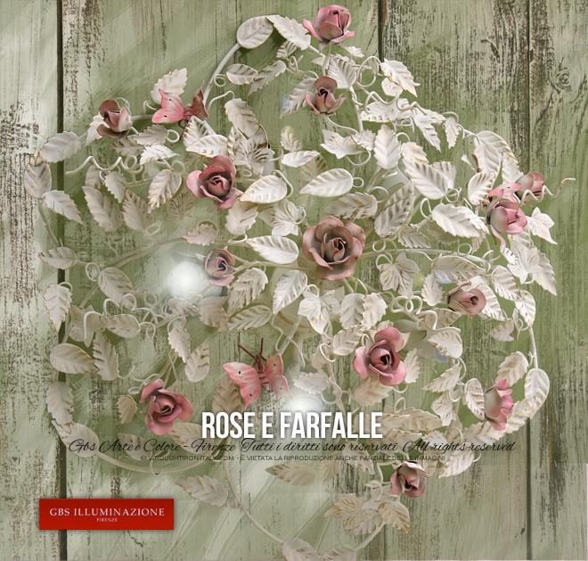 Plafoniera Rose e Farfalle a 5 luci _GBS Illuminazione