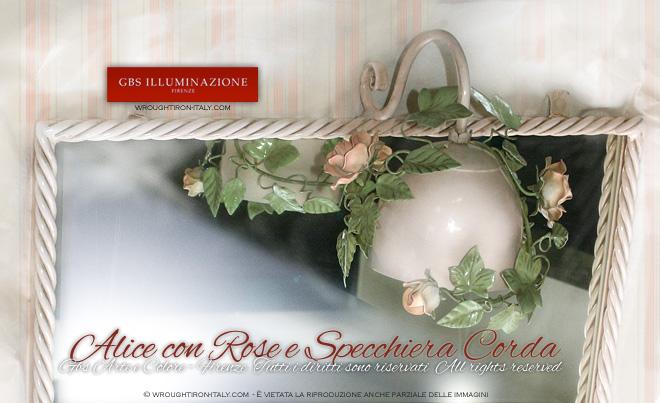 Luce per Specchio colore Rosa petalo Applique e Specchiera su misuraGBS Illuminazione  Ferro