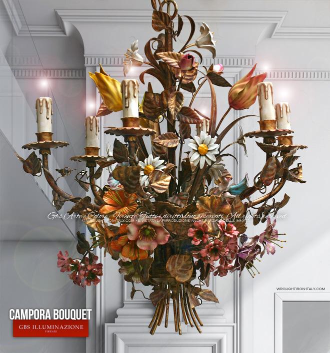 Campora Bouquet wrought iron Chandelier GBS Illuminazione