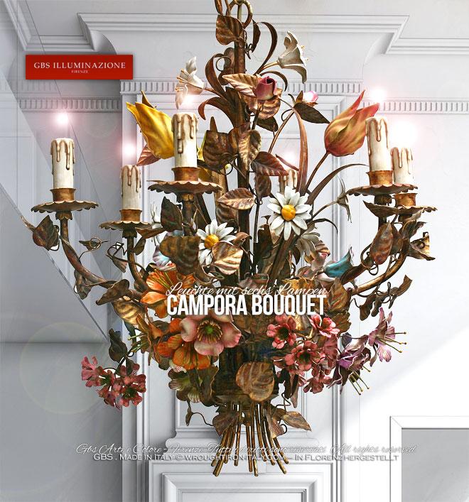 Campora Bouquet Leuchte mit sechs Lampen  GBS Illuminazione  Ferro Battuto  Wrought Iron