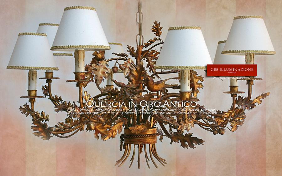 Lampadario Quercia in Oro Antico  GBS Illuminazione