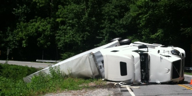 Truck Overturns On Highway 75 North Of Helen WRWH