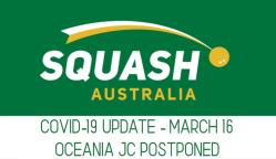 SQUASH AUSTRALIA | COVID-19 Virus Update | OCEANIA JUNIOR CHAMPIONSHIPS POSTPONED