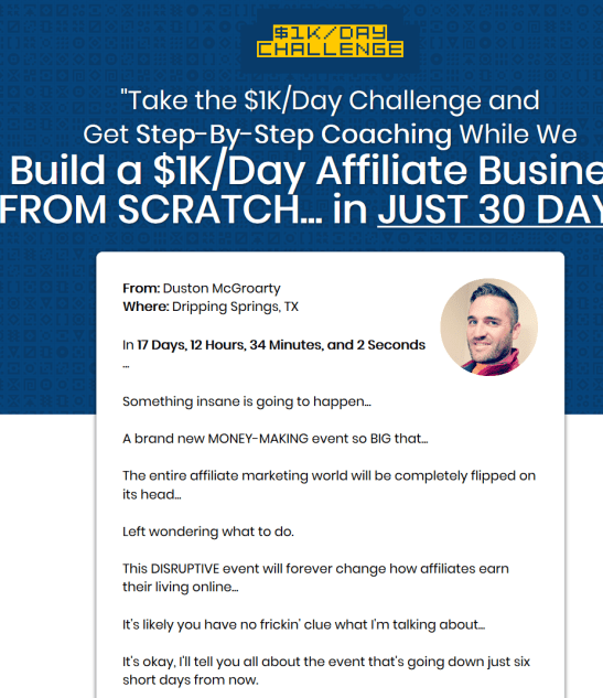 Duston MacGroarty – Build A $1K Day Affiliate Business Download