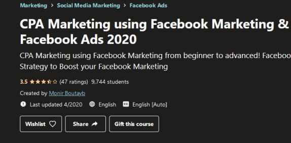 CPA Marketing Using Facebook Marketing & Facebook Ads (2020) Free Download