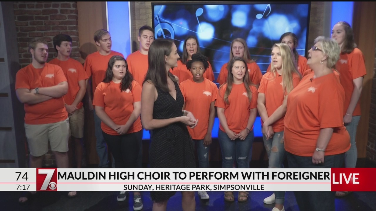 Mauldin High chorus group performing with Foreigner