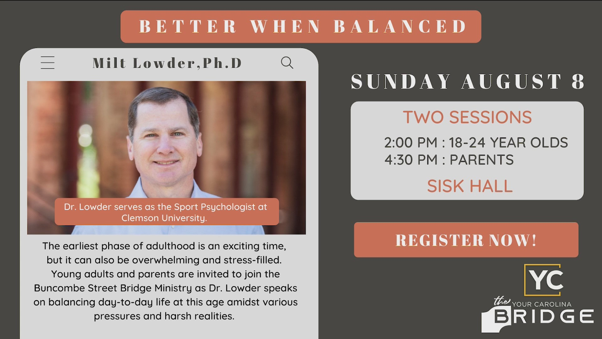 The BSUMC Bridge Ministry presents Better When Balanced