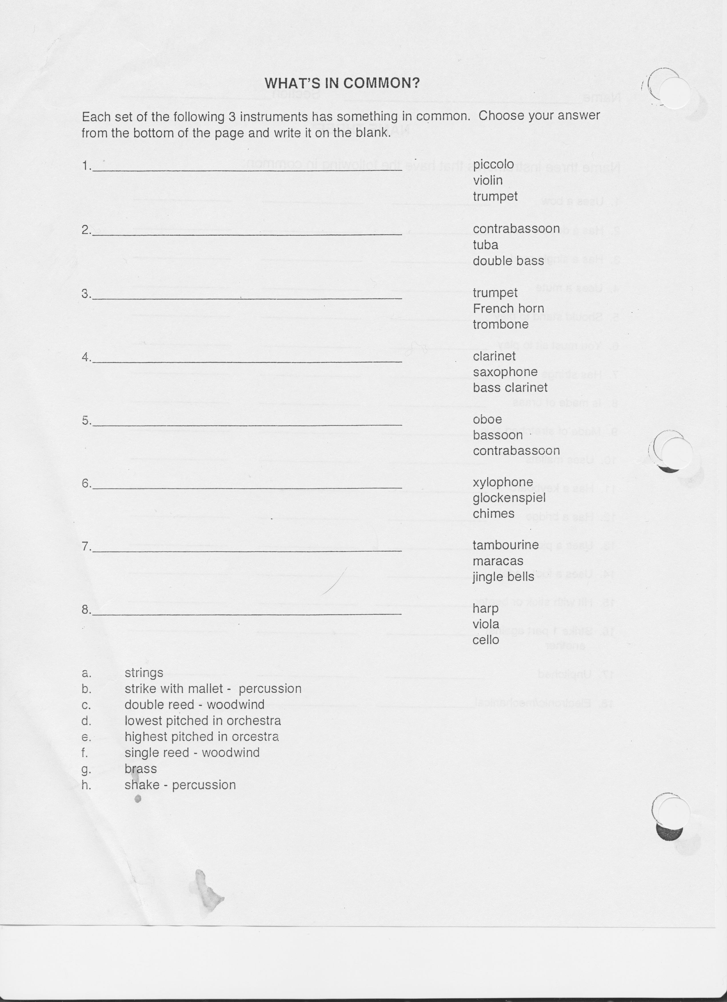 Music Worksheets