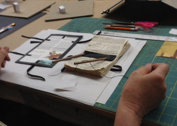 Patrick makes the single-quire codex leather binding