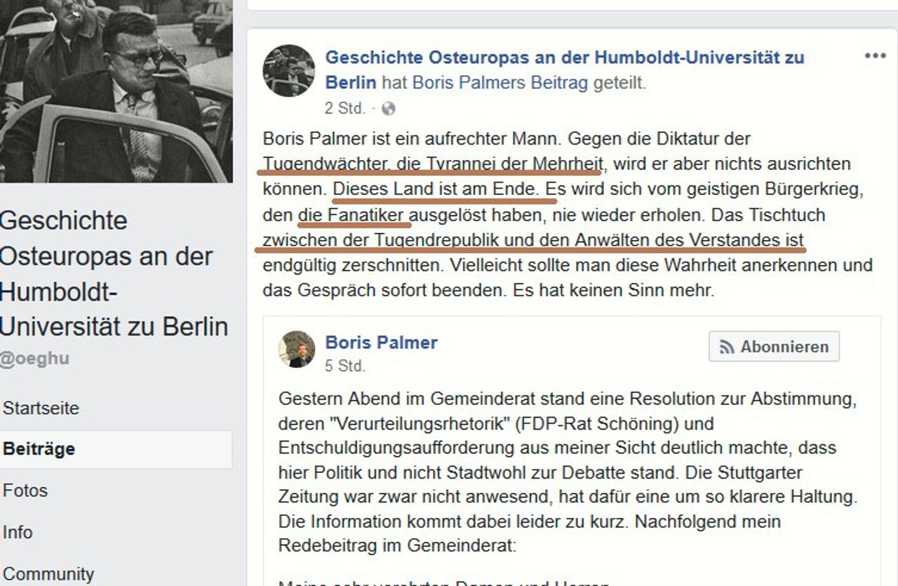 Facebook post by Baberowski's department