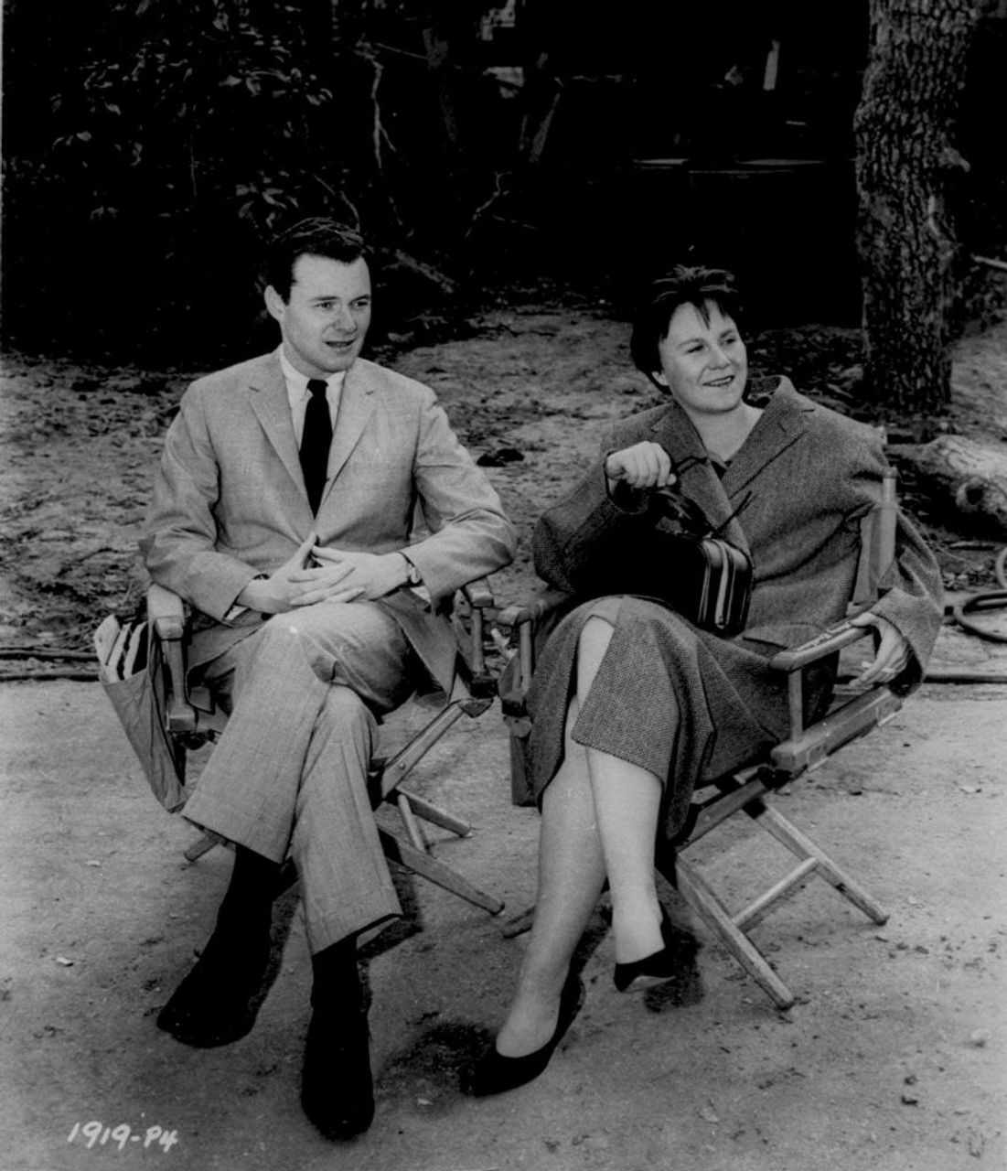 Producer Alan Pakula and Harper Lee on set of To Kill a Mockingbird in 1962