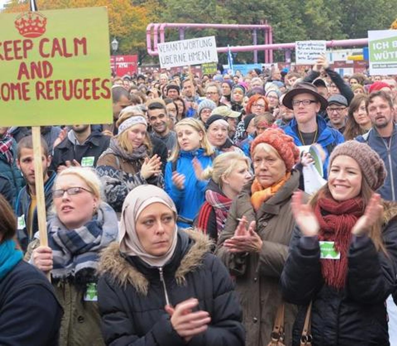 Pro-refugee demonstrators in Berlin