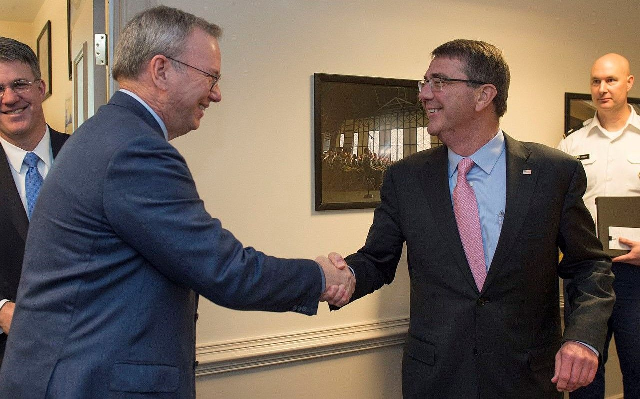 Google boss Eric Schmidt and Ash Carter meet about the Defense Innovation Advisory Board for the Department of Defense