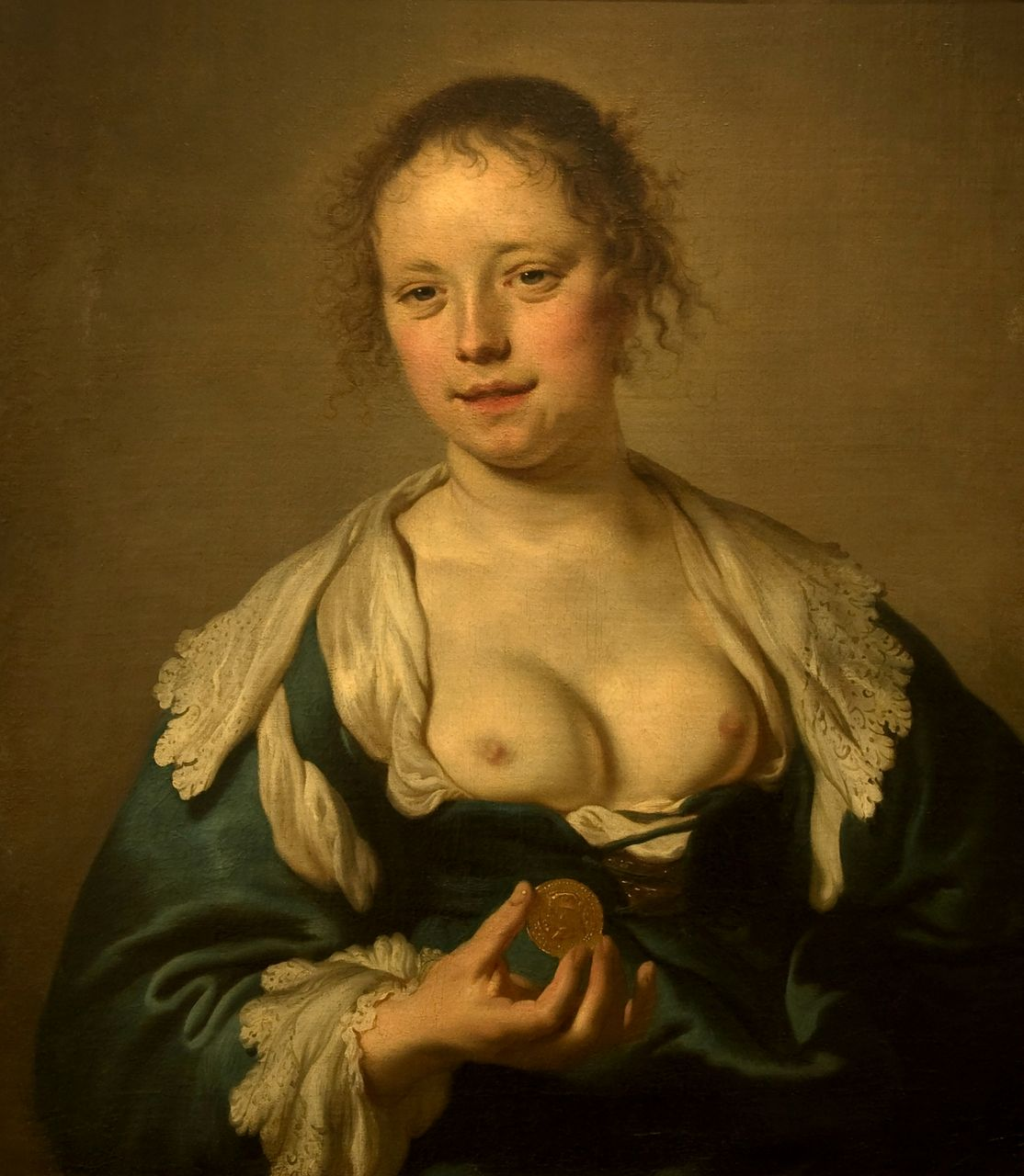 Half-Naked Woman with a Coin, Jacob Backer, about 1636, Museu Nacional de Arte Antiga, Lisbon