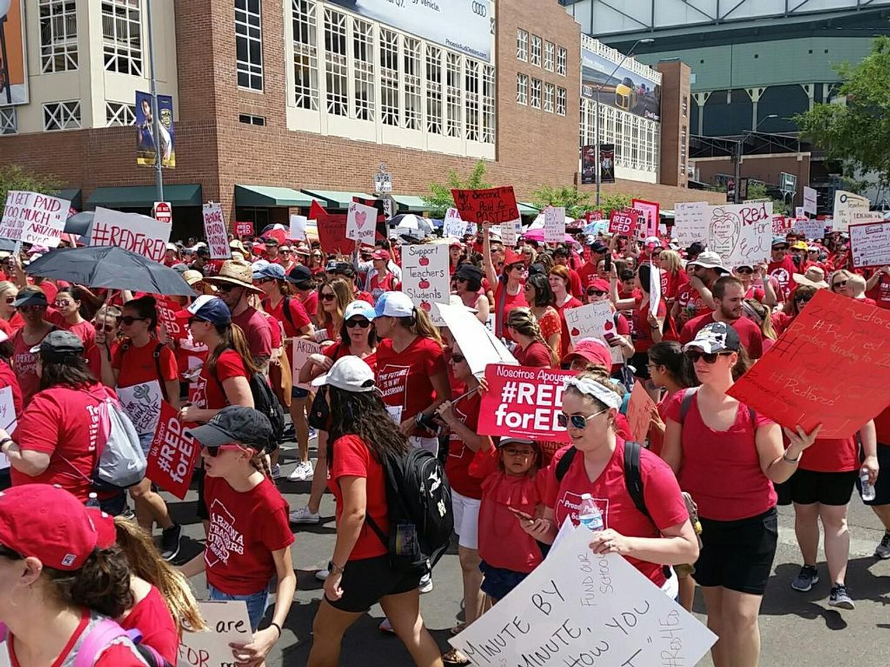 A section of the marching Arizona teachers and supporters