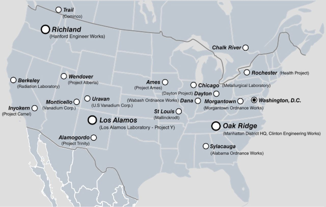 Manhattan Project sites in the United States and Canada. SOURCE: Wikipedia