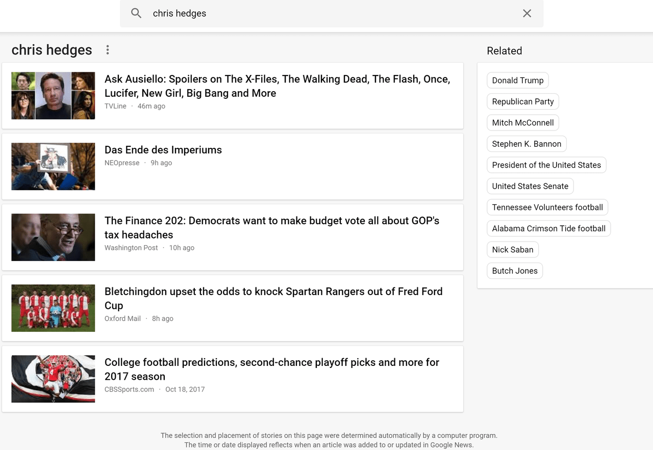 A Google News search for Chris Hedges returns no relevant results