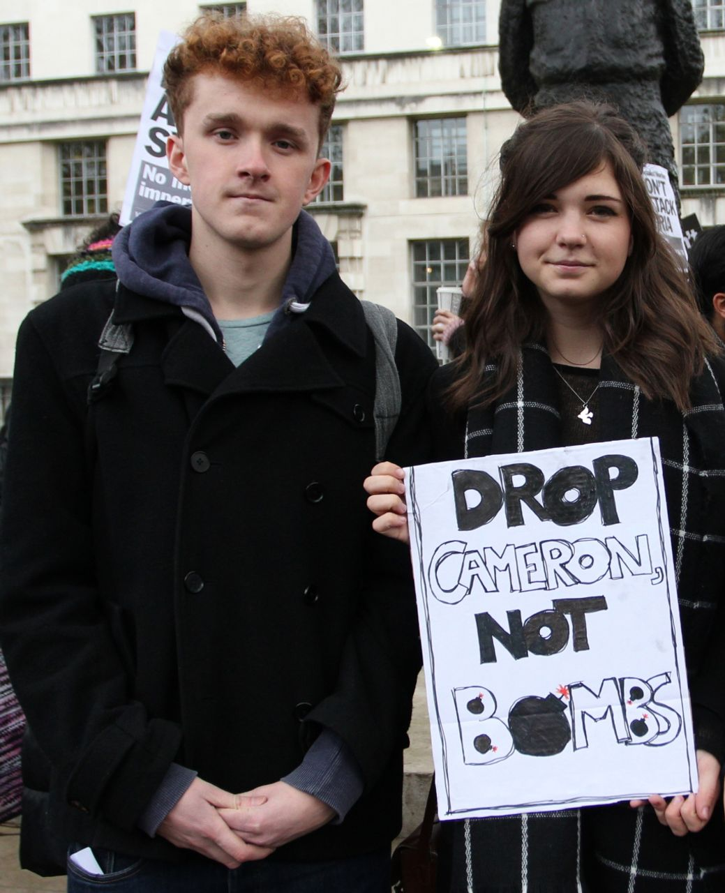 Sam and Amy, demonstrators in London against war on Syria