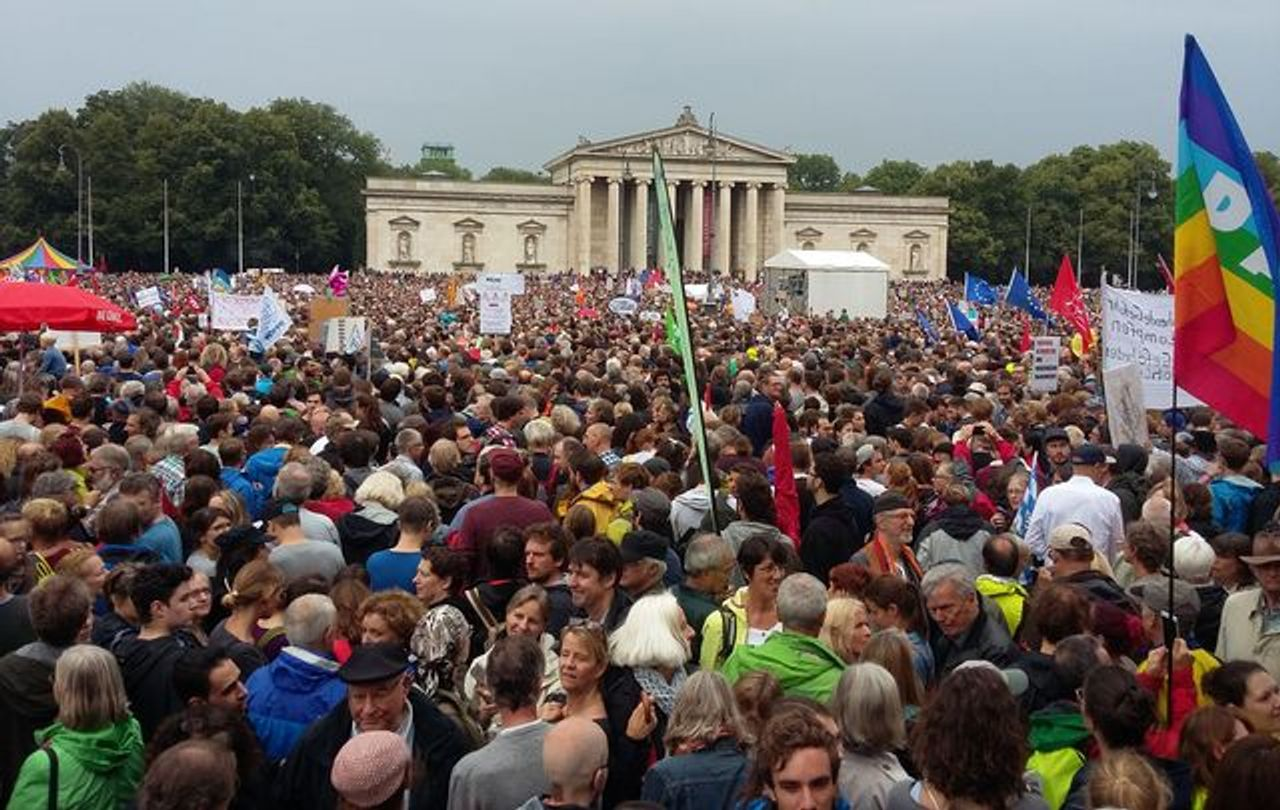 A section of the final rally on the Königsplatz
