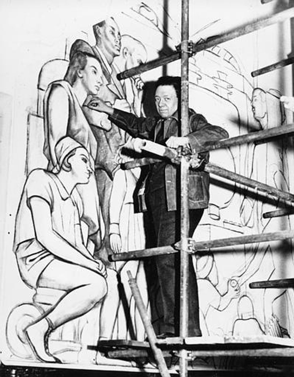 Rivera working on the Man at the Crossroads mural in the Rockefeller Center