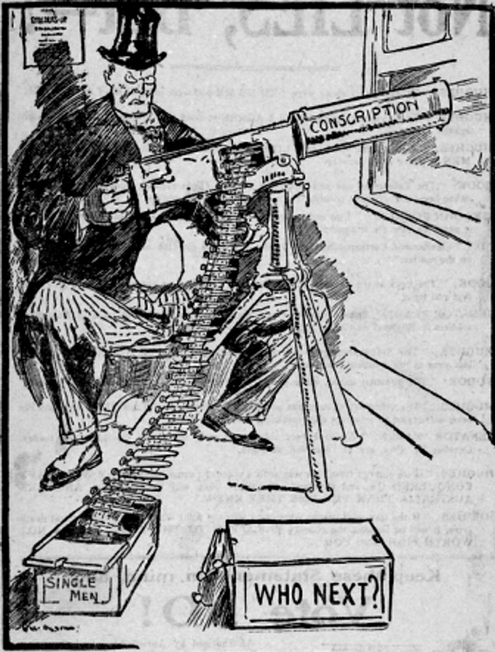 Anti-conscription cartoon (RC00339 image courtesy Australian War Memorial)
