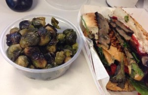 Roasted brussel sprout salad with a portabella panini.