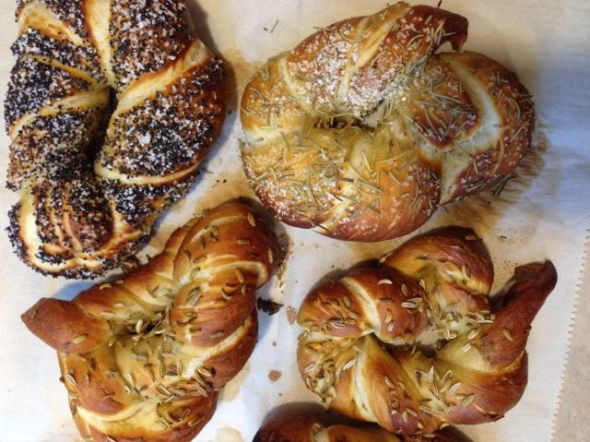 ... unlike these pretzels.  (l-r: Poppy, Rosemary, Fennel)