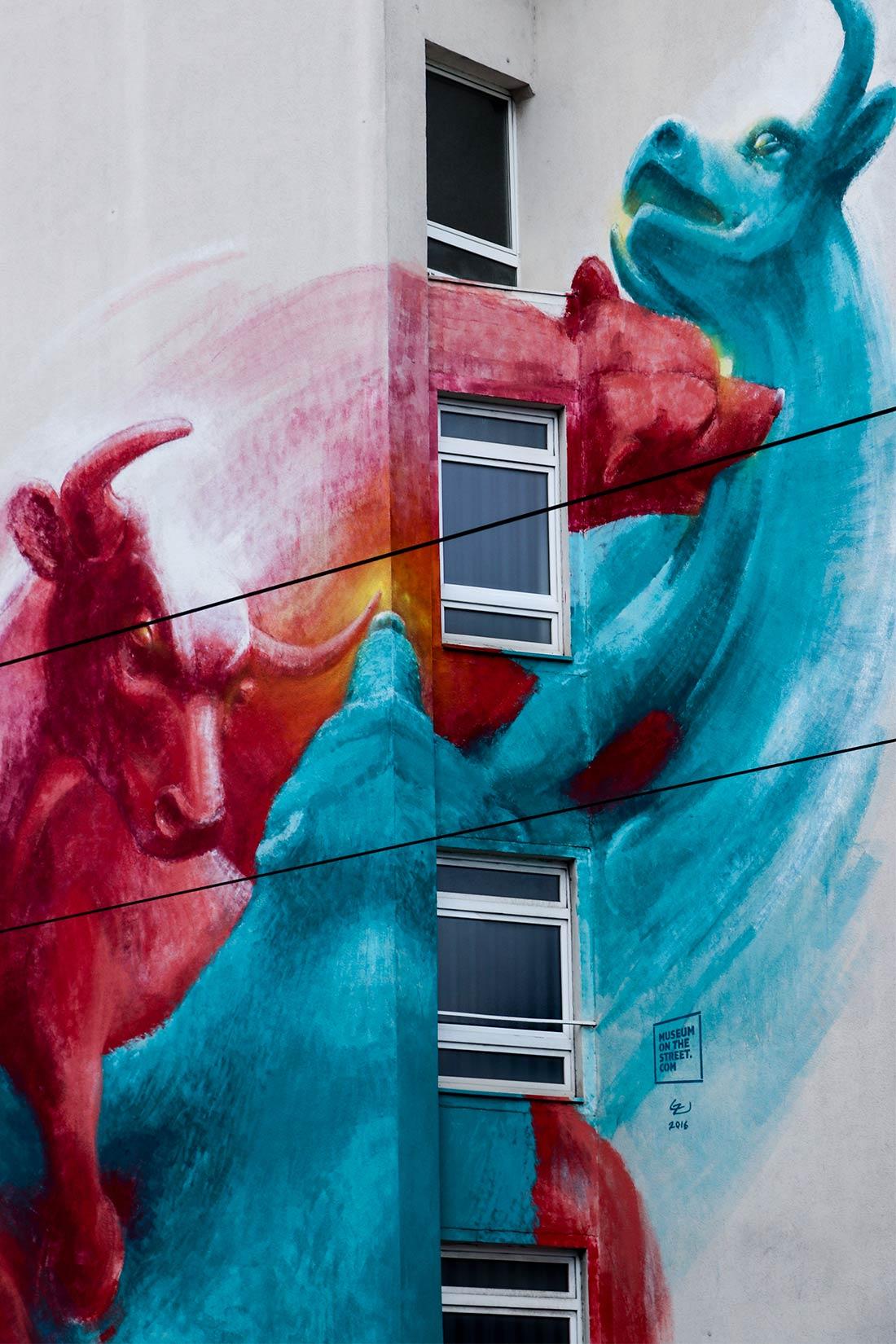 Street Art Frankfurt Bulle und Bär