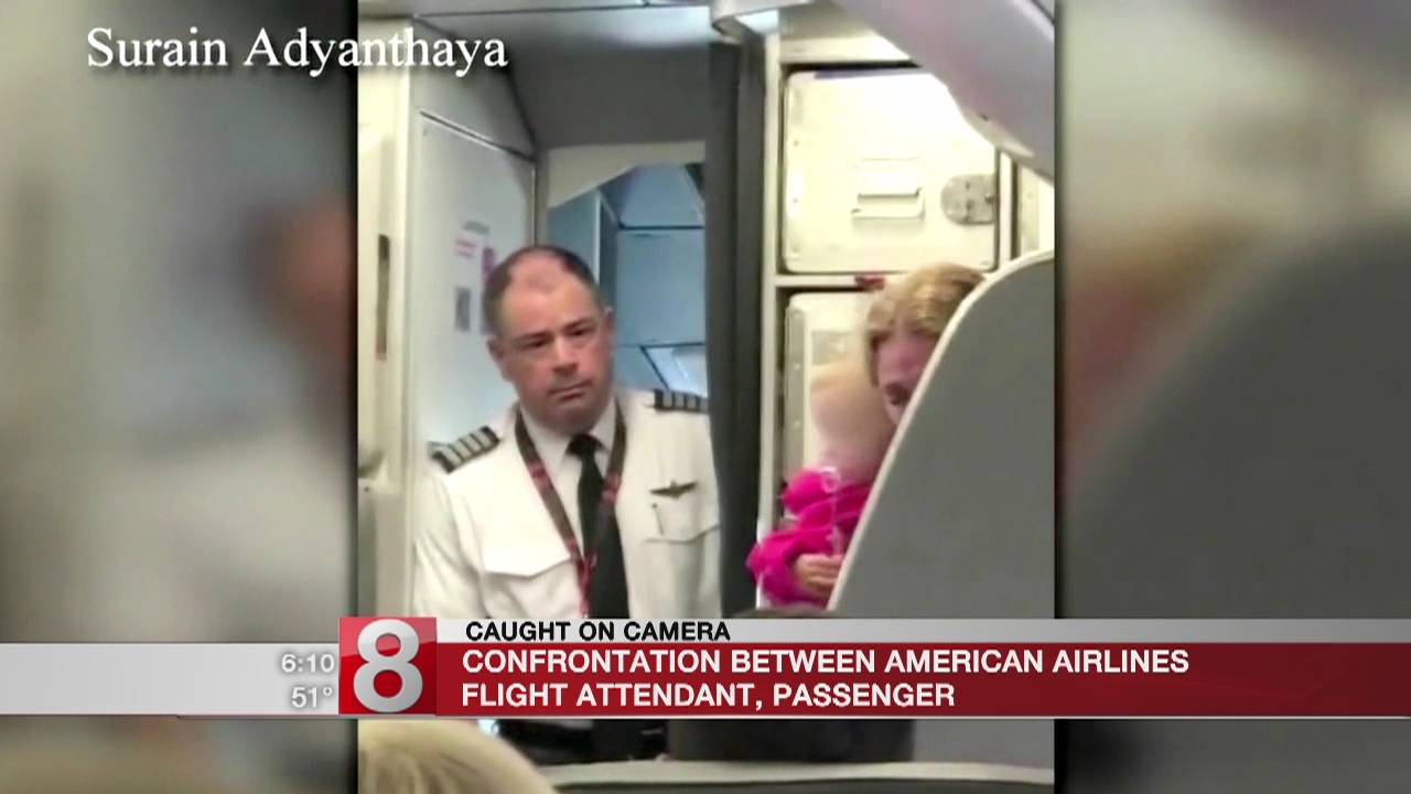American flight attendant to angry passenger: 'Hit me'