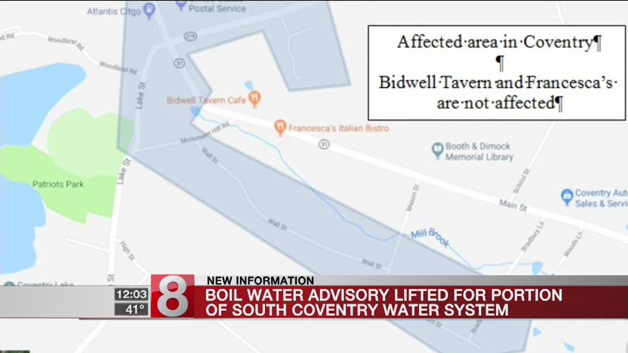 Precautionary boil water advisory partially lifted in Coventry