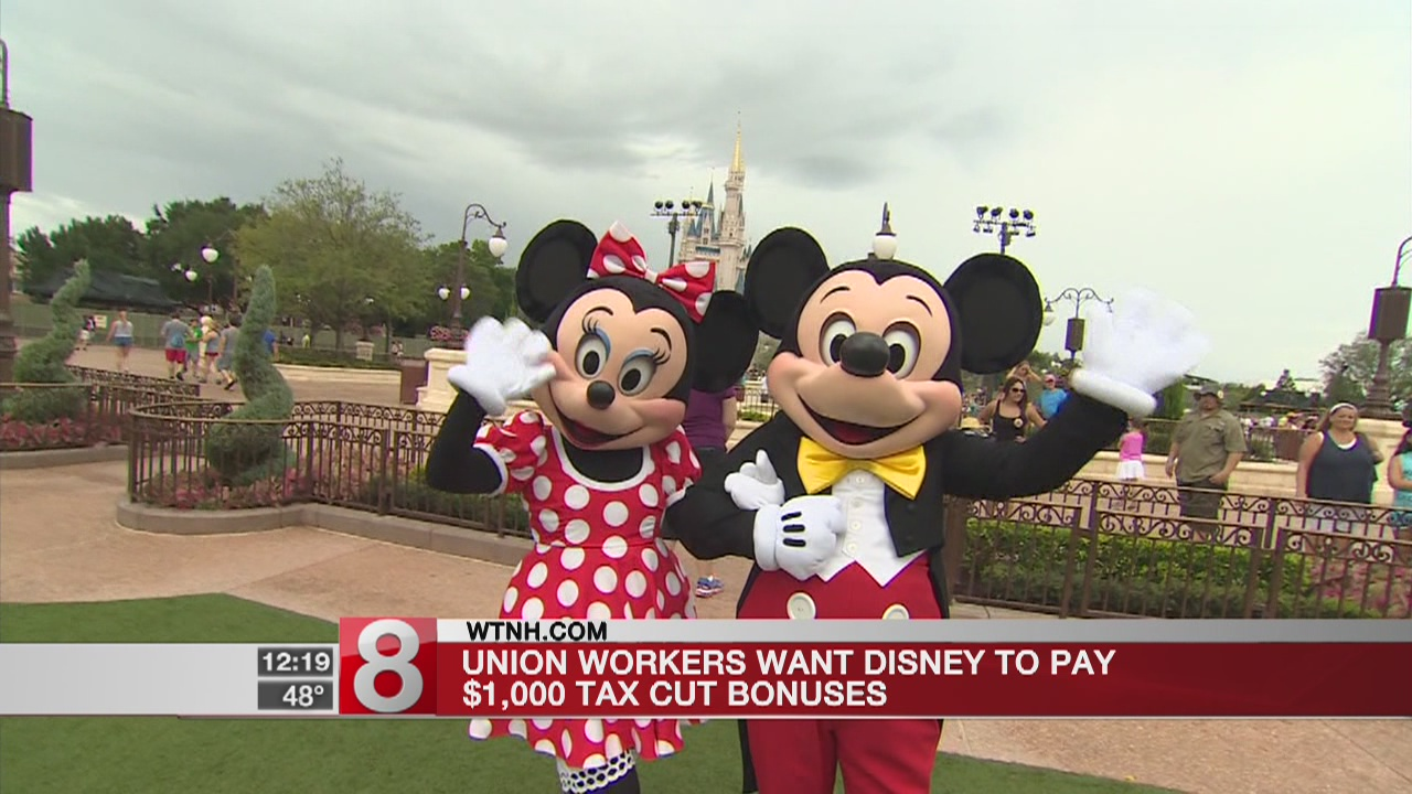 Union workers want Disney to pay their $1,000 tax cut bonuses
