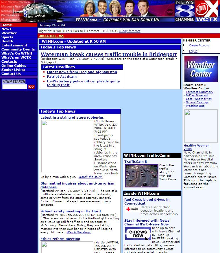 The evolution of WTNH com (1997 to the present) – WTNH com