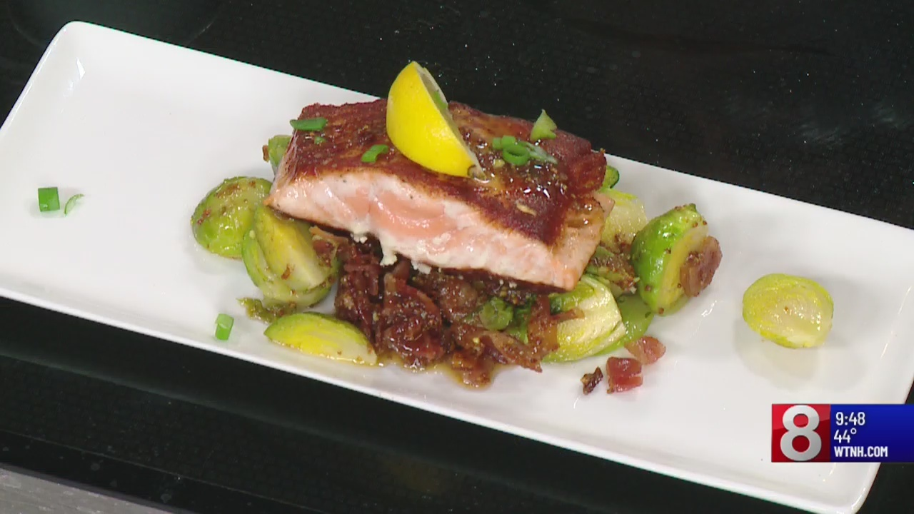 8 Minute Meals: salmon with maple bacon Brussels sprouts