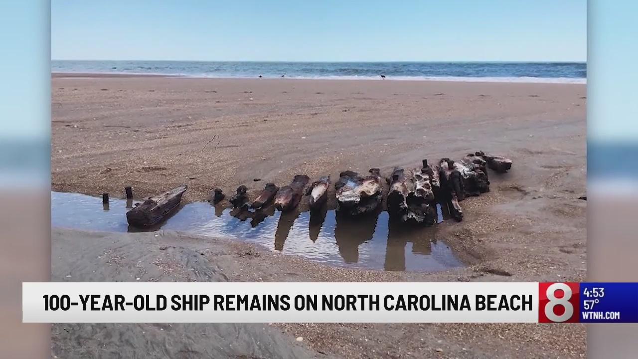 100-year-old ship remains on North Carolina beach