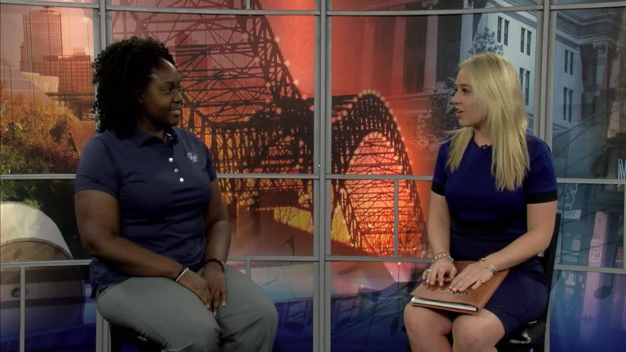 Local 24 Sports' Jessica Benson with Mackenzie Mack of the Tennessee Golf Foundation