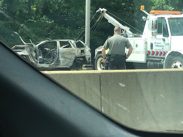 Car accident on I-95 North in Guilford caused right lane closure