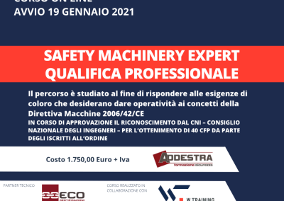 Safety Machinery Expert – Qualifica Professionale – SETTIMA EDIZIONE