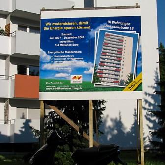 Einige Häuser der Würzburger Stadtbau GmbH (Wohnungsbaugesellschaft) sind zwischen 2007 und 2008 renoviert und saniert worden.