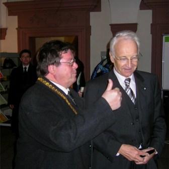 Würzburgs Bürgermeister Adolf Bauer und der damalige Ministerpräsident Edmund Stoiber