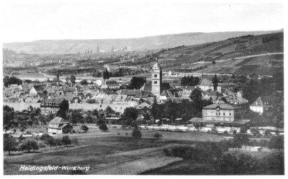 Blick auf Heidingsfeld im Jahr 1946 auf einer alten Postkarte.