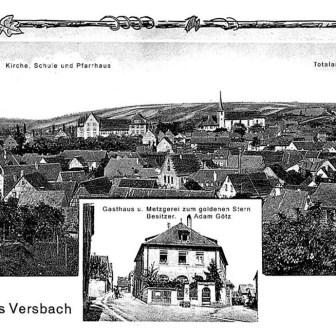 Historische Postkarte aus Versbach aus dem Jahr 1933.