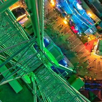 Blick aus 55 Meter Höhe vom Riesenrad auf die Talavera.