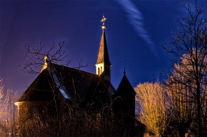 Nachts wenn alles schläft... der Maria-Schmerz-Kapelle in den Weinbergen oberhalb von Randersacker.