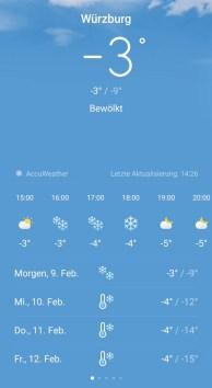 Der Screenshot der Wetterapp zeigt die Temperaturen dieser Tage im Februar 2021.