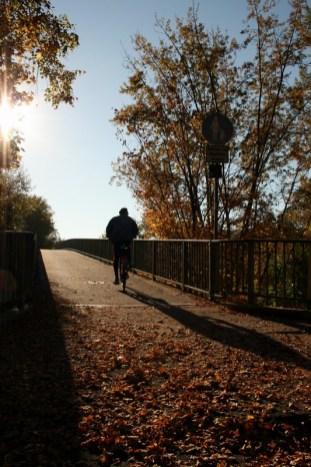 Sebastian-Kneipp-Steg im gleißenden Herbstlicht